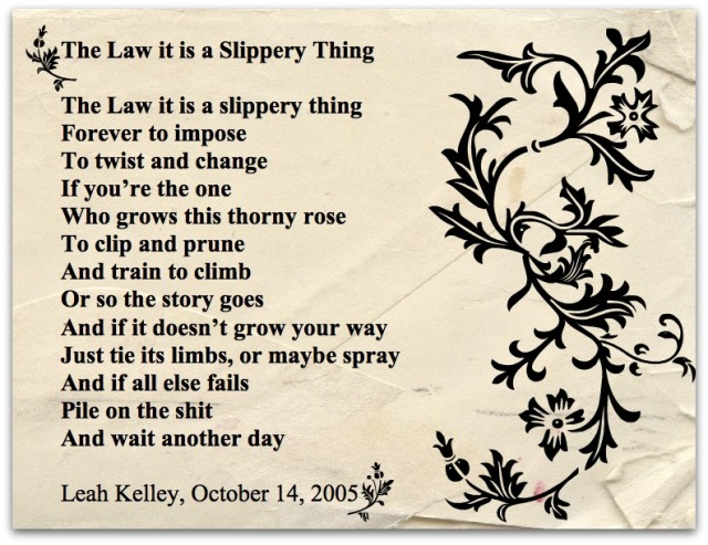 The Law it is a Slippery Thing Leah Kelley