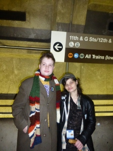 H and Emily at the Metro waiting for a train.
