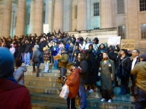 H on the steps of the Art Gallery with other protesters in DC (December 5, 2014)