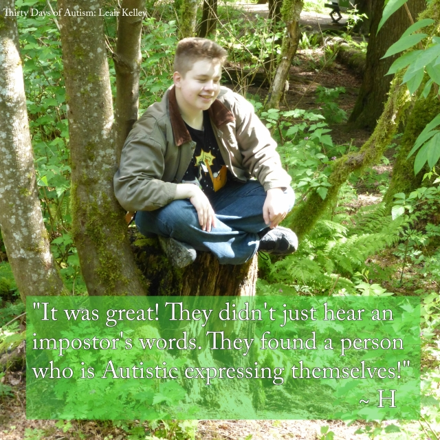 Image of smiling relaxed looking H sitting cross-legged on a stump in the woods. Text reads: