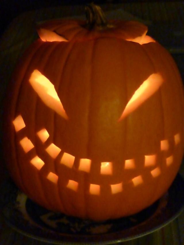 Image: A jack o'lantern carved by H.