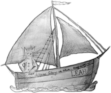 "A frizzy-headed person wearing a wolf suit is standing in a pencil sketched boat (based on a drawing by Maurice Sendak's ""Where the Wild Things Are""). Text on the boat reads ""Whose story is this anyway..."" and ""LEAH""."